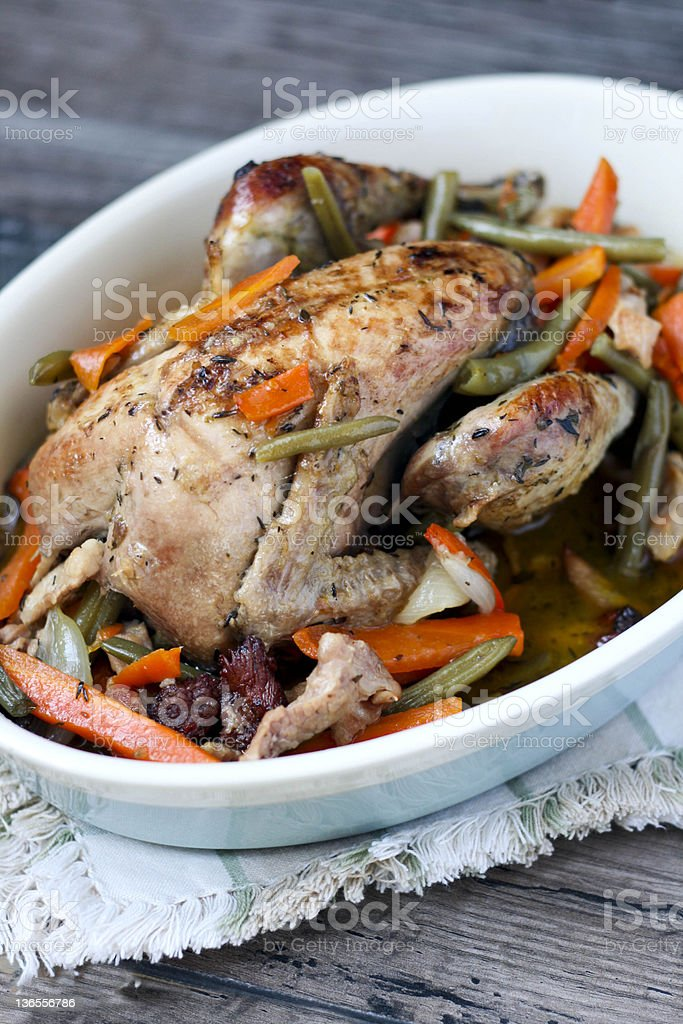 Pot-roasted pheasant stock photo