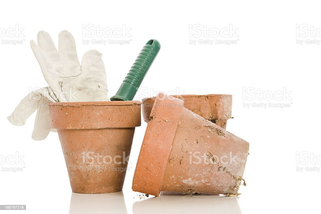 Pots and Gloves royalty-free stock photo