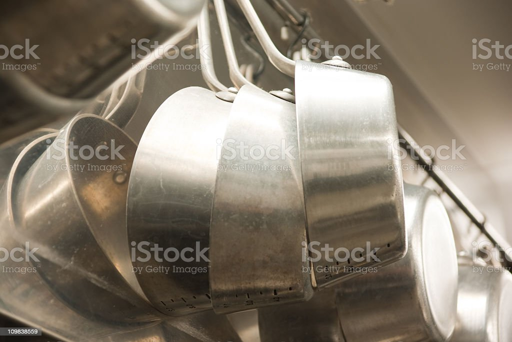 Pots and pans at a restaurant stock photo
