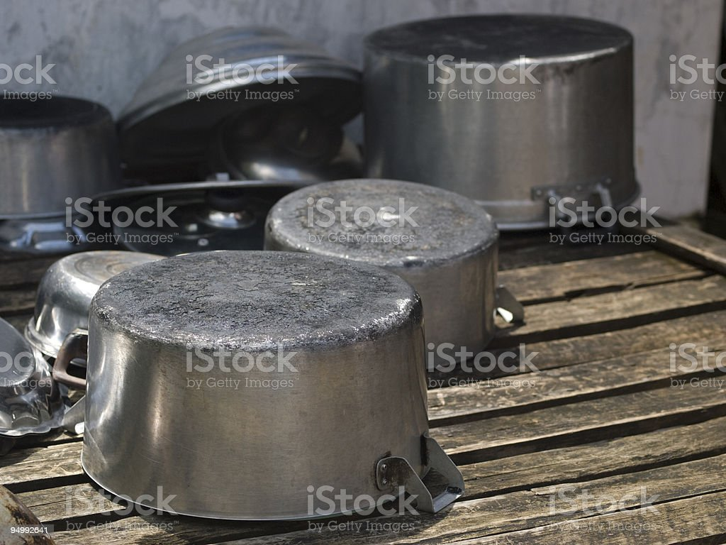 Pots drying in open air royalty-free stock photo