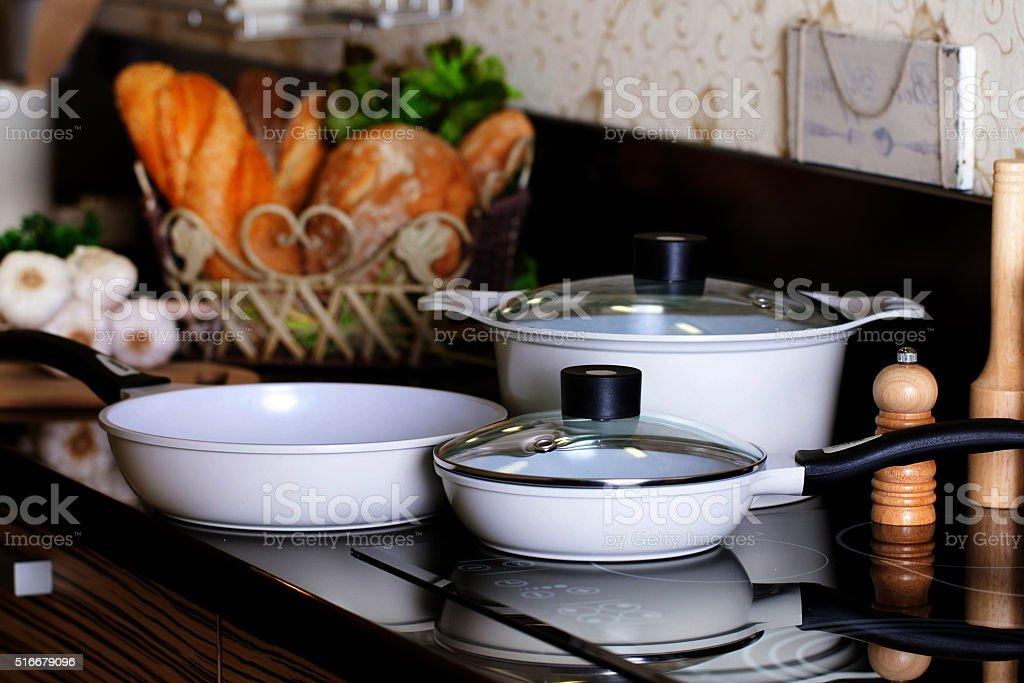pots in the interior stock photo