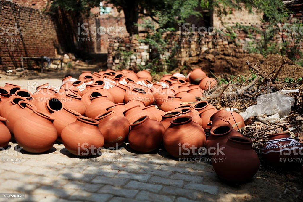 pots made by clay stock photo