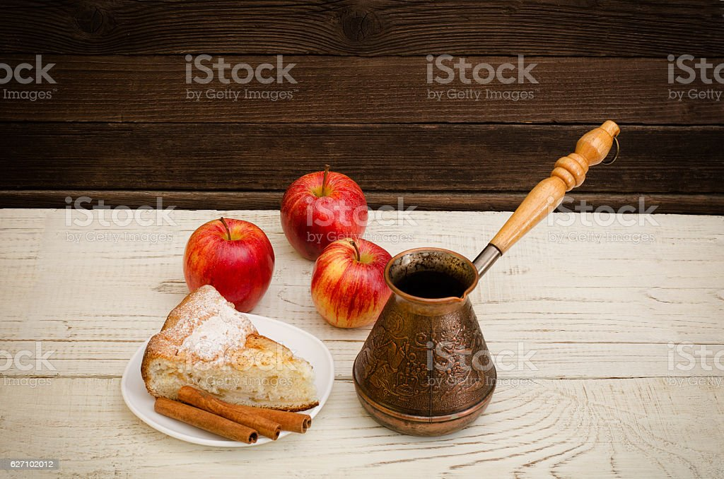 Pots of coffee, apple pie and ripe apples stock photo