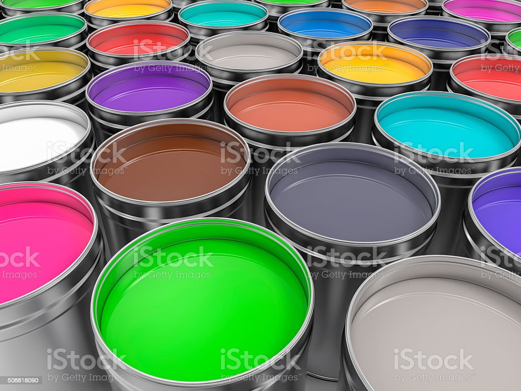 3D Pots of Paint of Paint stock photo