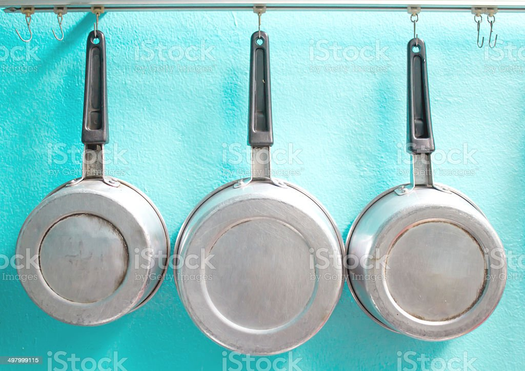 Pots with hanging stock photo