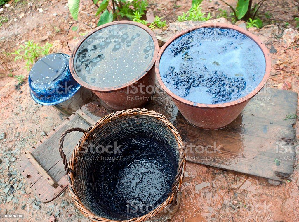 Pots with Indigo Dye in China royalty-free stock photo