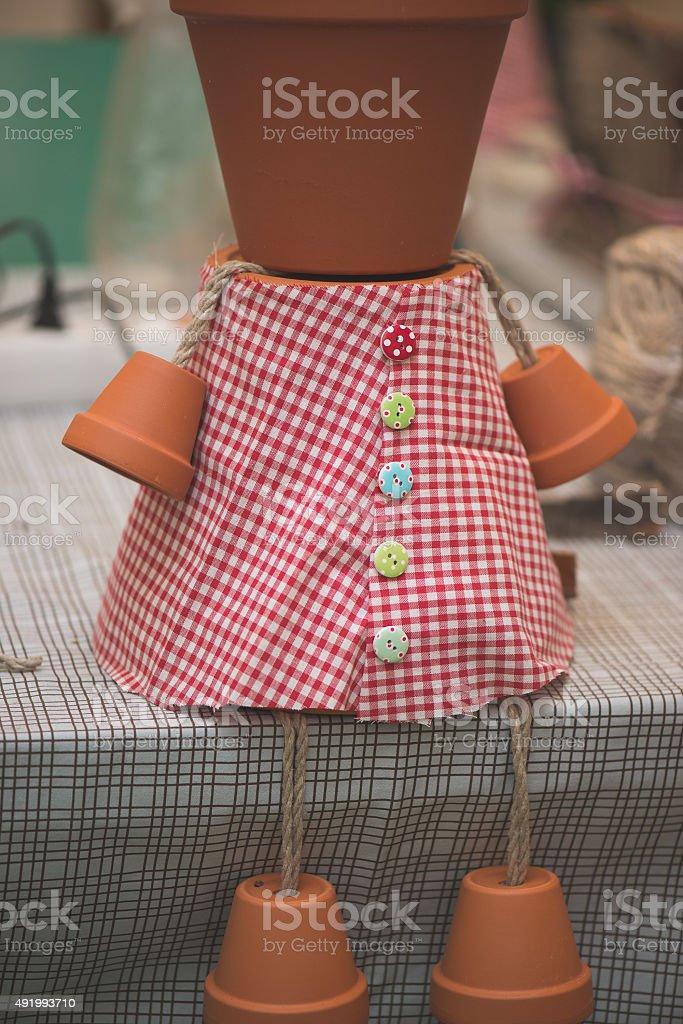 potsherd doll, creative DIY work stock photo
