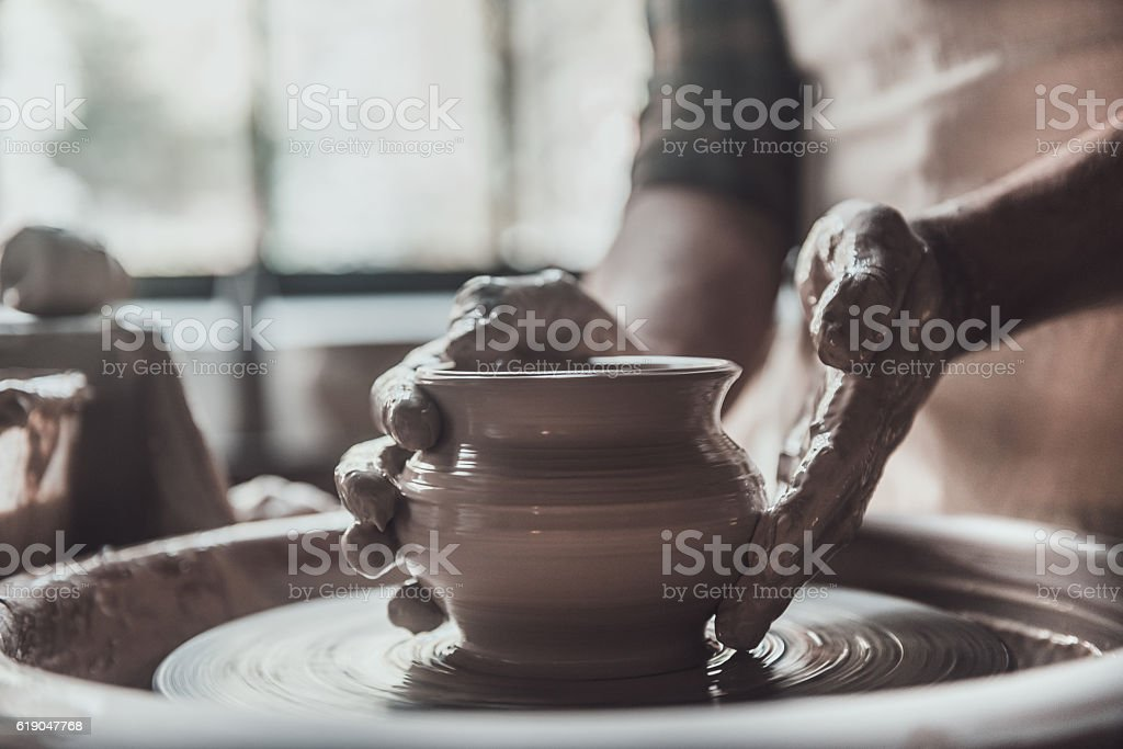 Potter at work. stock photo