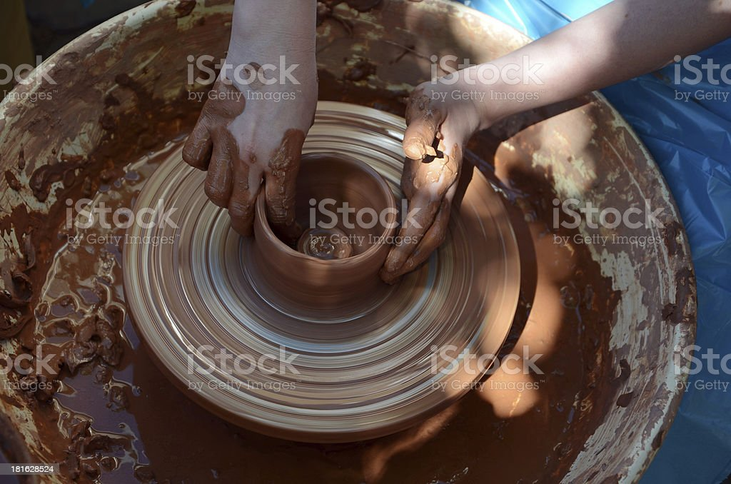 potter making a bowl royalty-free stock photo