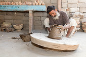 Potter making clay pot in Rajasthan, India