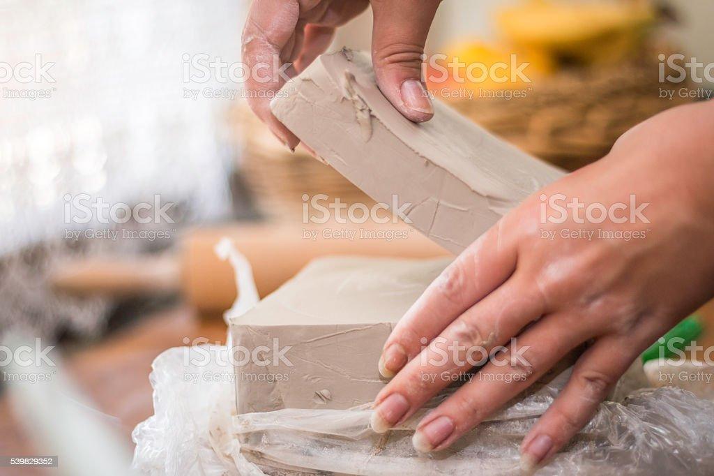 Potter preparing clay stock photo