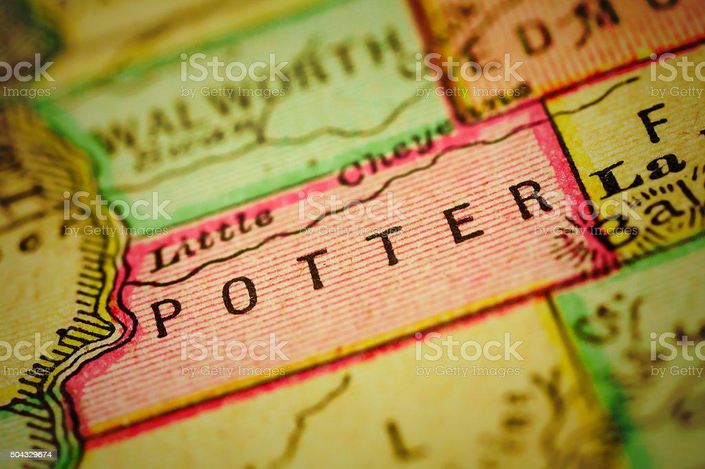 Potter | South Dakota County Maps stock photo