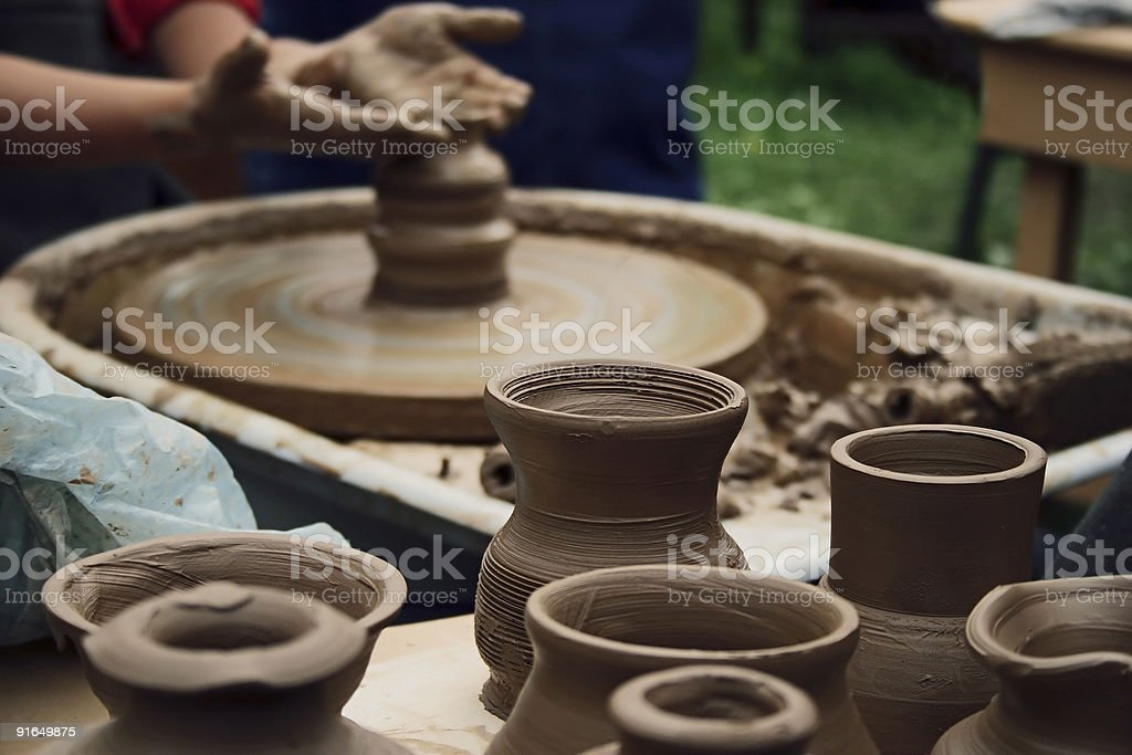 Potter working stock photo
