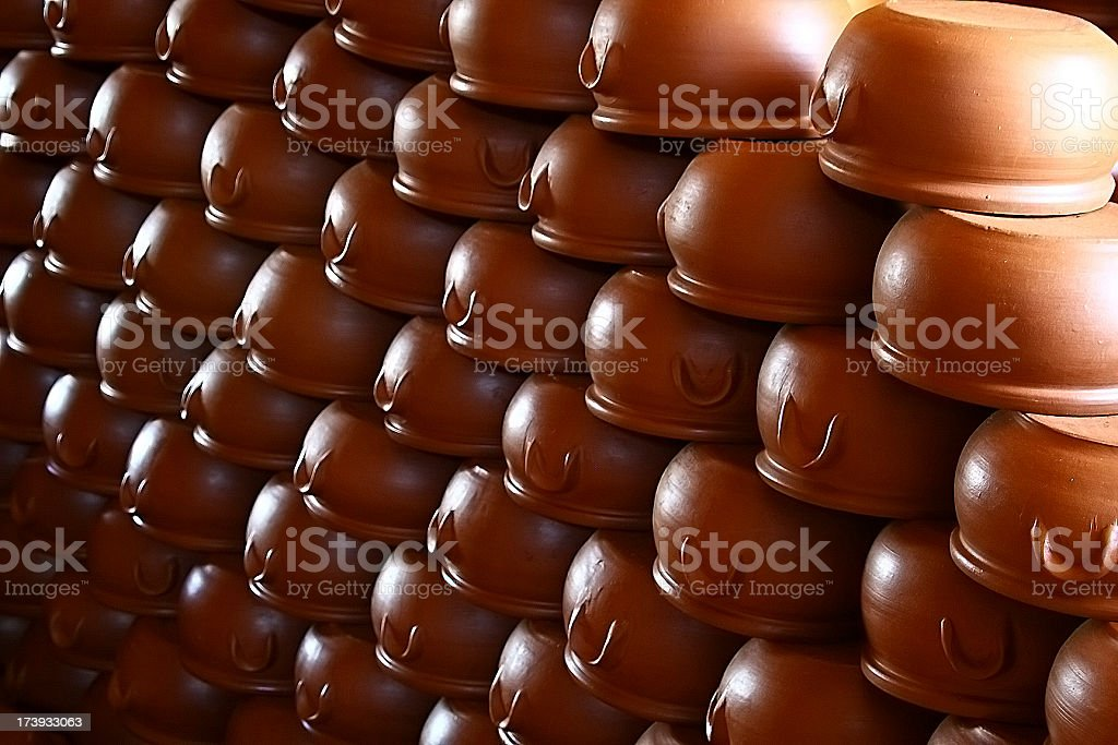 Potteries in a row stock photo