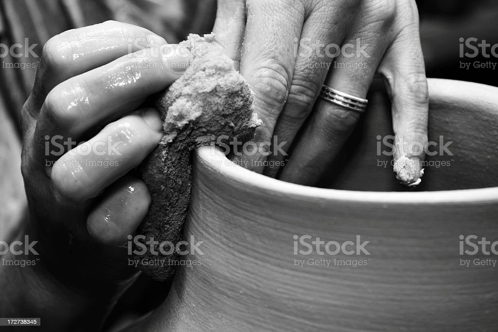 potter's hand stock photo