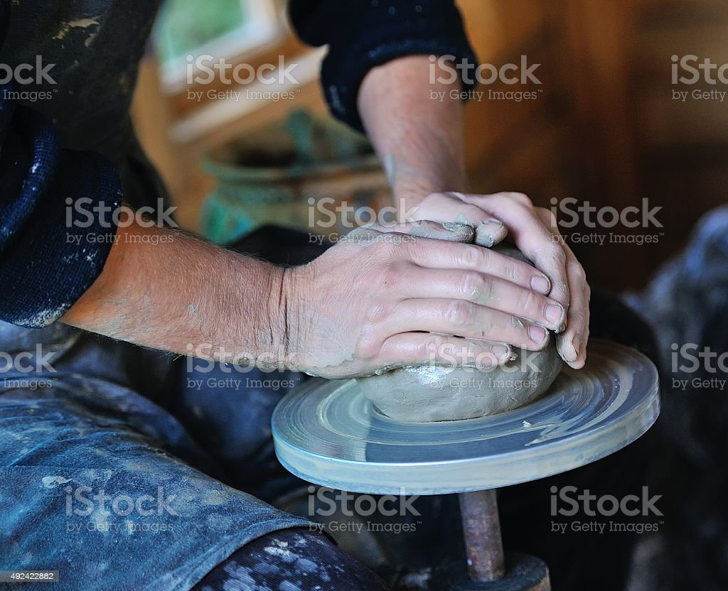 Potter's wheel stock photo