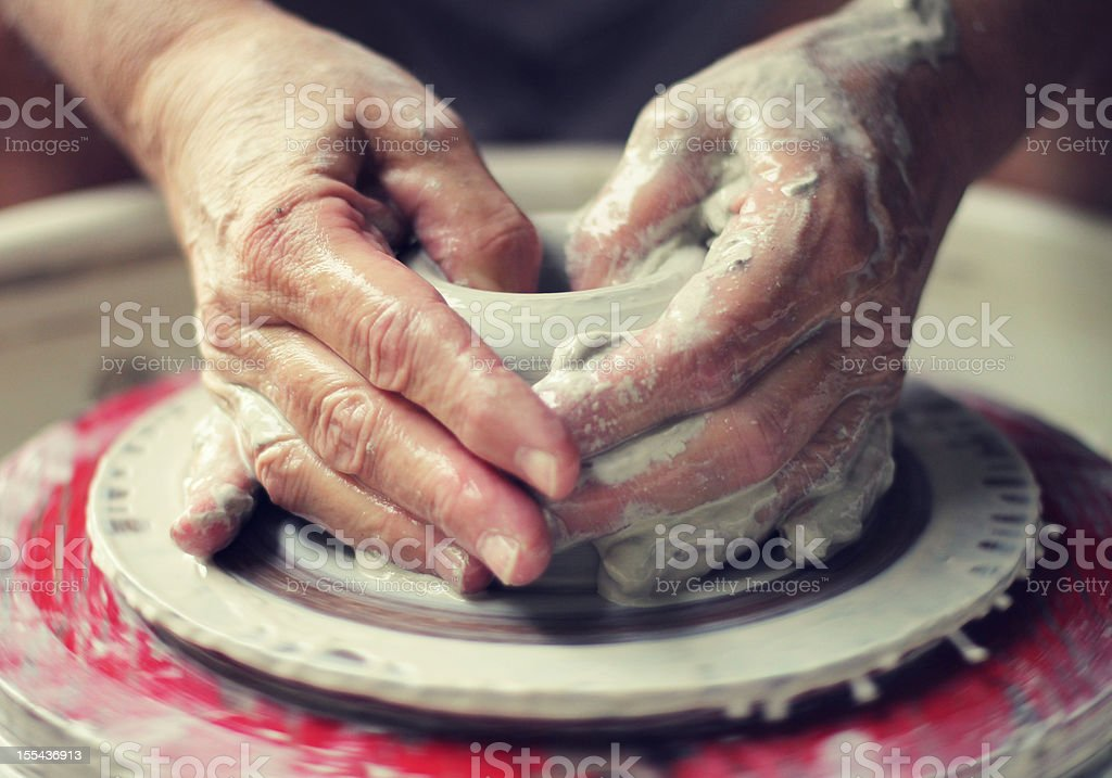 Potter's Wheel - Throwing Pottery stock photo
