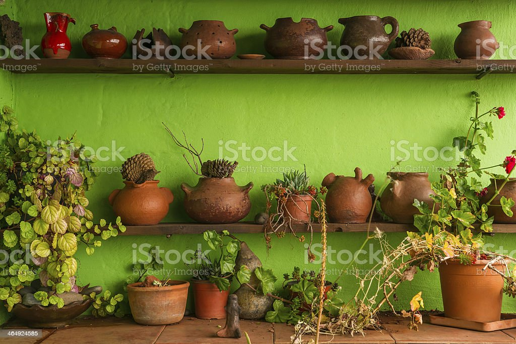 Pottery and flowers stock photo