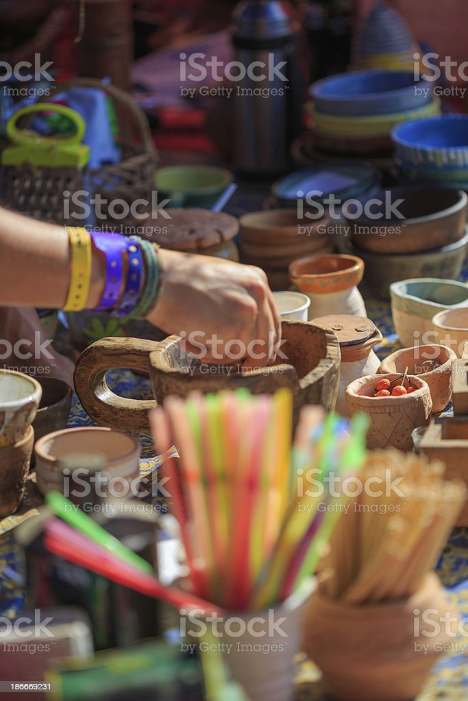 Pottery and spice store royalty-free stock photo
