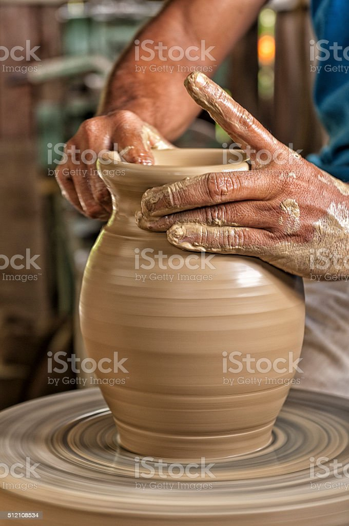 Pottery artist handmade stock photo