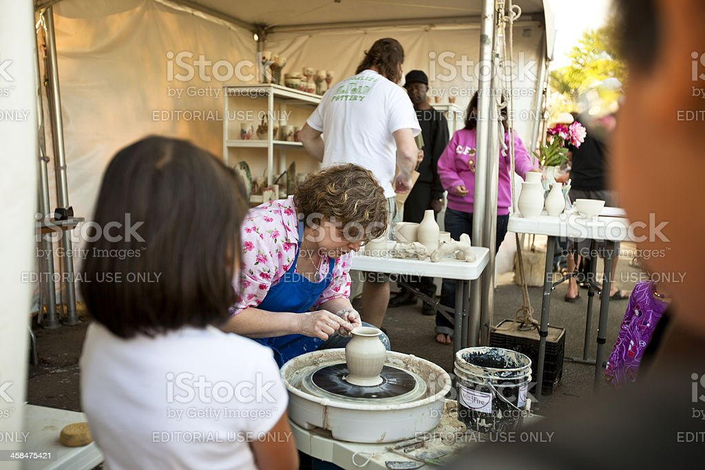 Pottery at the Dogwood Festival stock photo