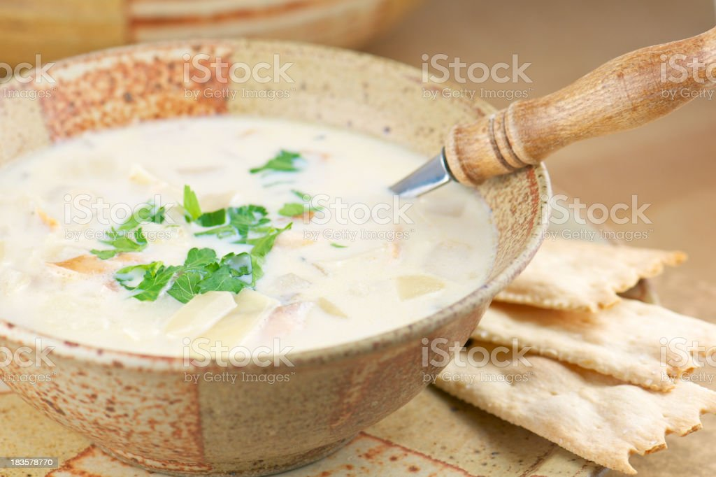 Pottery Bowl of Homemade Fish Chowder stock photo