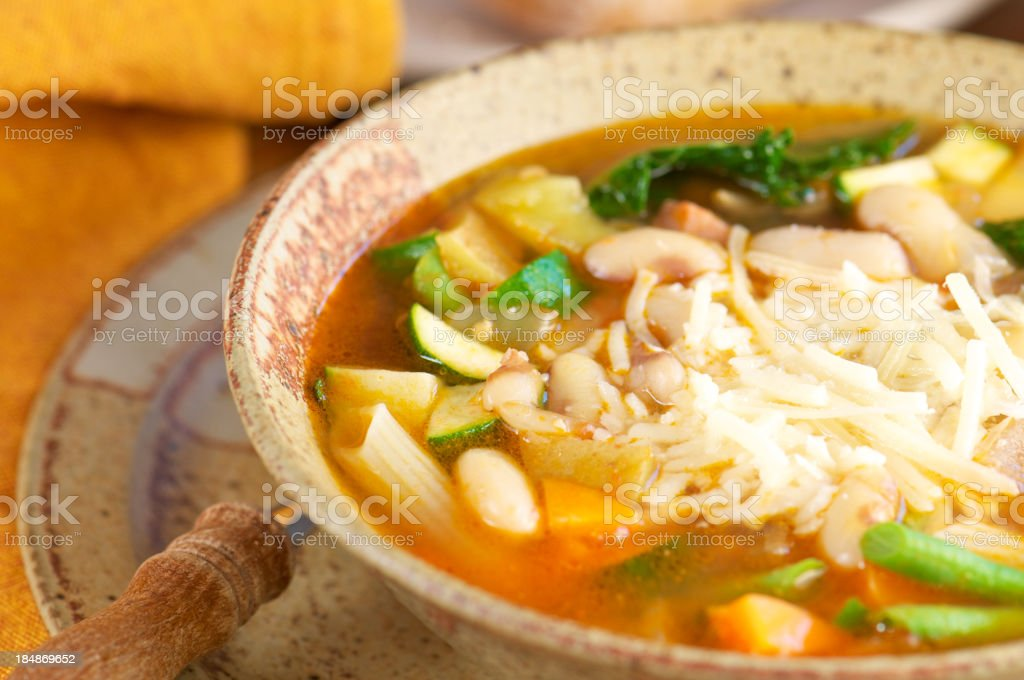 Pottery Bowl of Homemade Minestrone Soup royalty-free stock photo