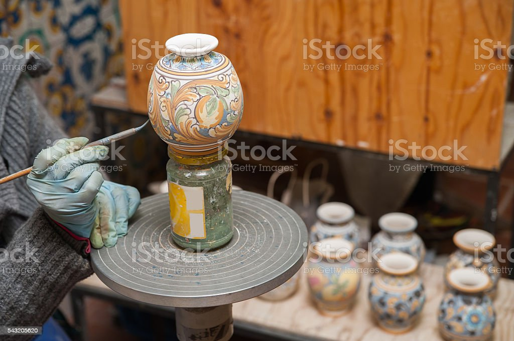 Pottery decorating stock photo