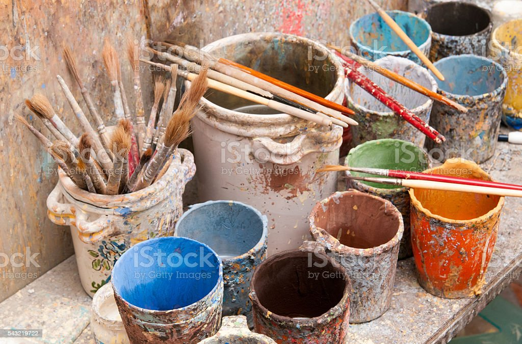 Pottery decorator tools stock photo