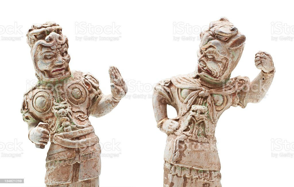 Pottery figures of Chinese ancient tomb guardian stock photo