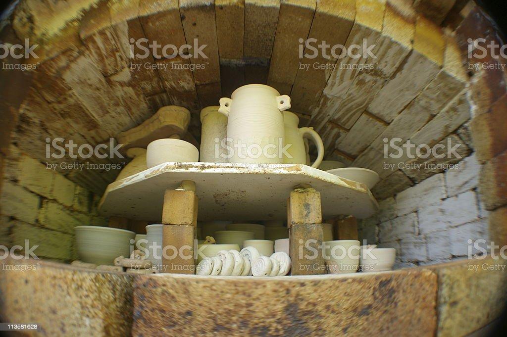 Pottery in Kiln stock photo