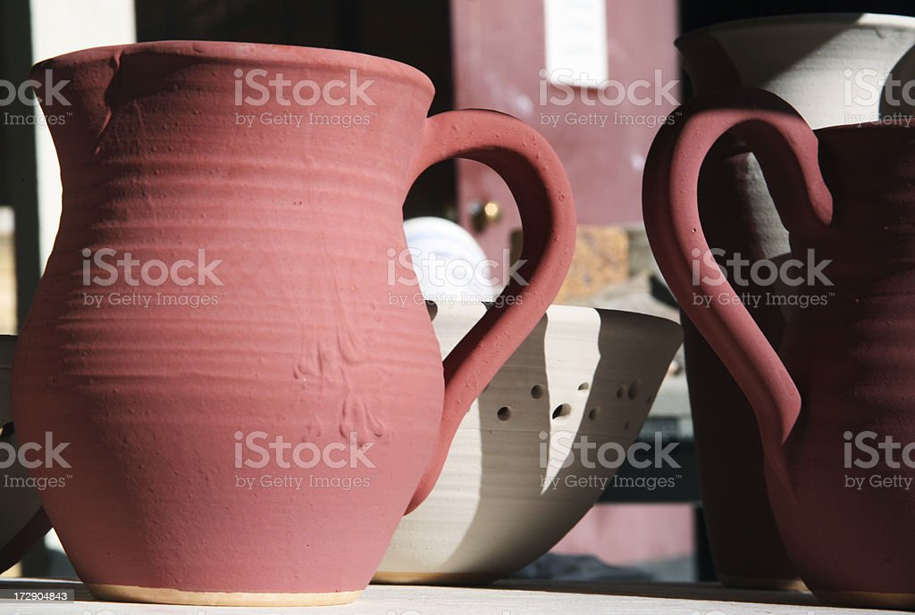 pottery in the raw stock photo