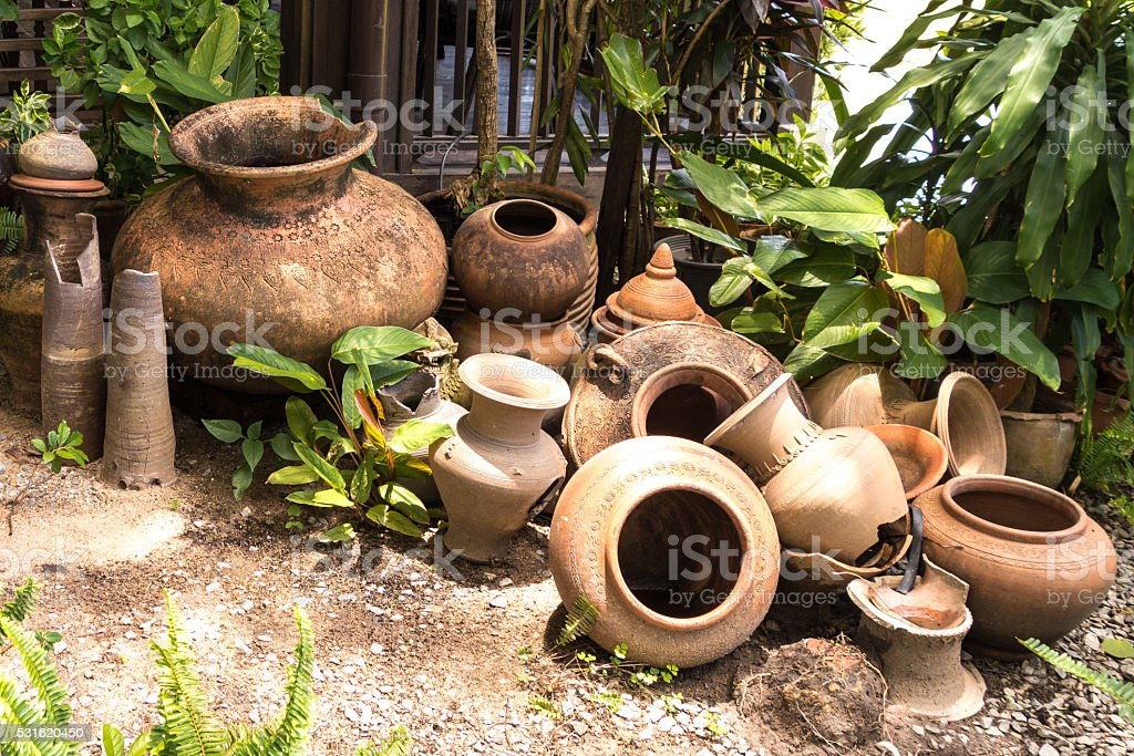 pottery is ancient equipment in thailand stock photo
