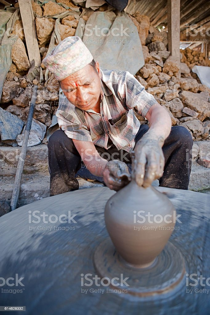 Pottery making on potters square, Bhaktapur, Nepal stock photo