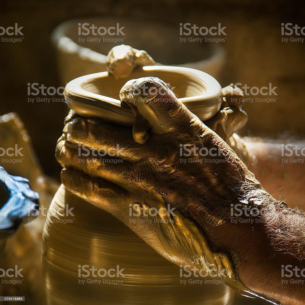 Pottery man stock photo