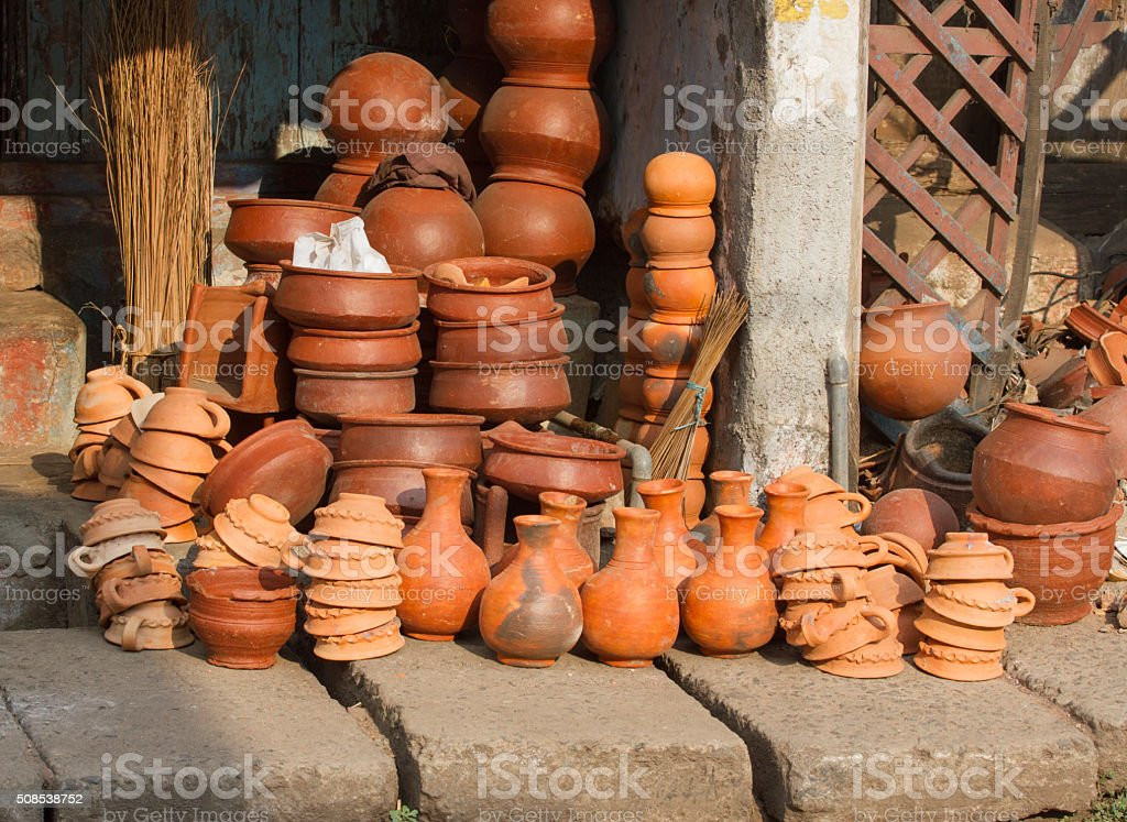 Pottery of different sizes exhibited in the street stock photo