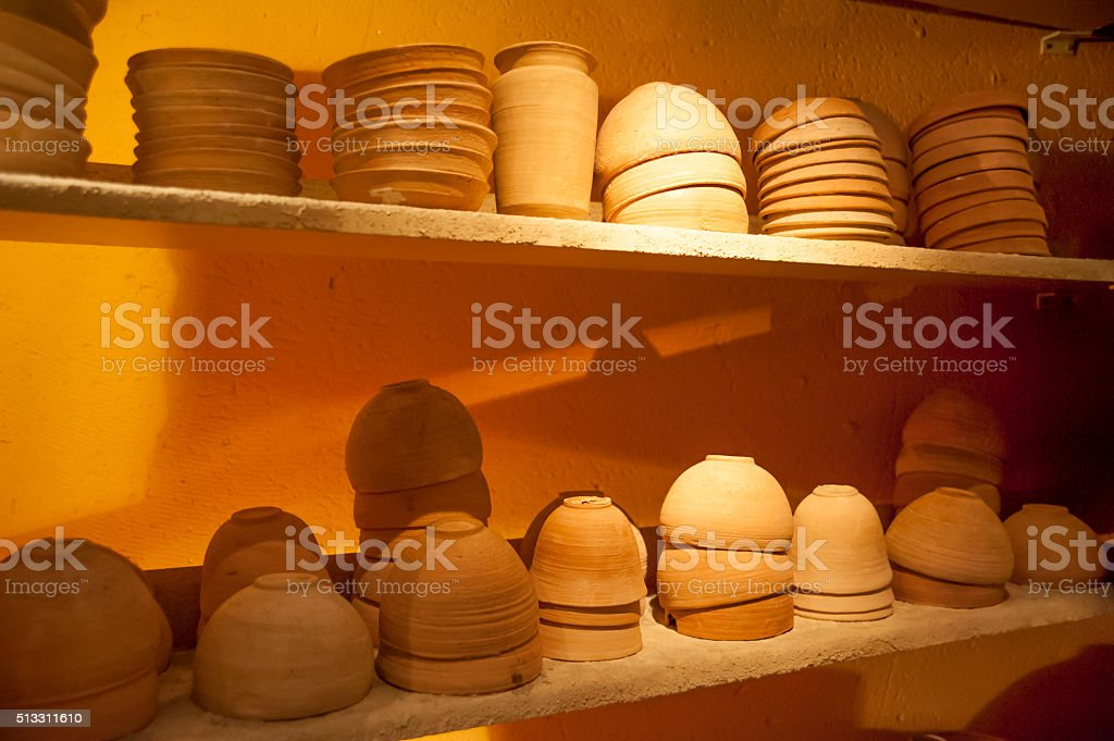 Pottery on display at Qumran stock photo