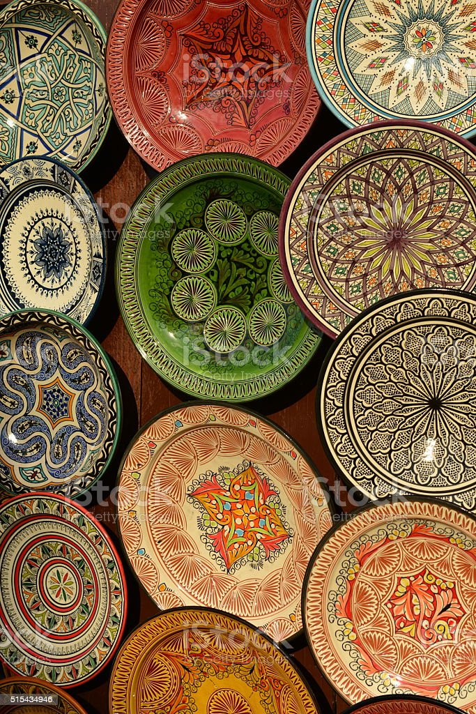 Pottery plates, Marrakech, Morocco, Africa. stock photo
