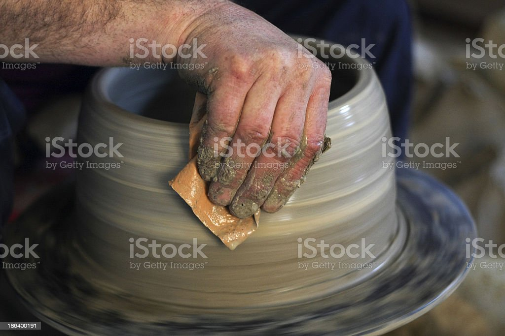 Pottery - Potter's Hands royalty-free stock photo