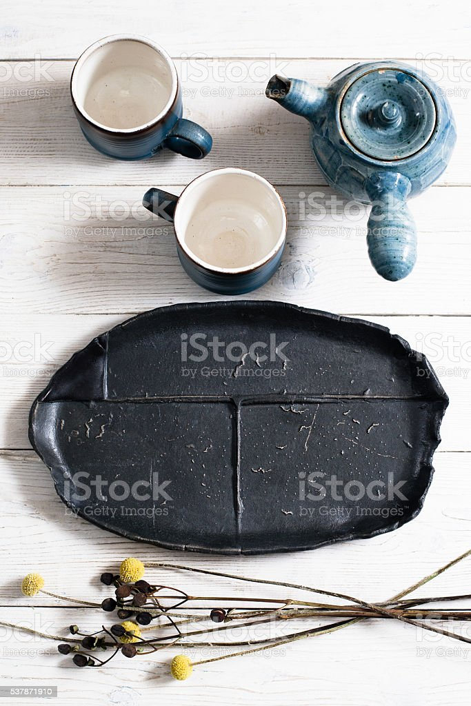 pottery set of dishes for tea ceremony stock photo