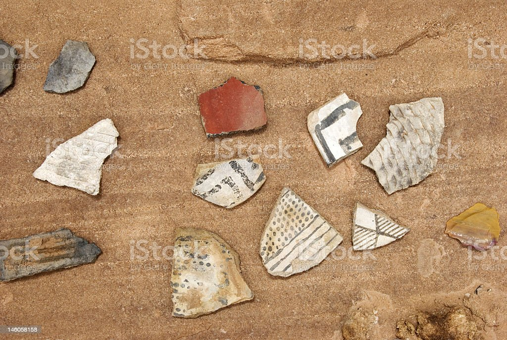 Pottery Shards and Chert royalty-free stock photo