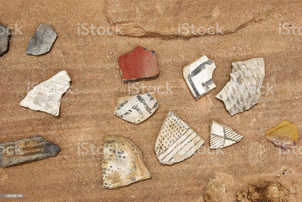 Pottery Shards and Chert stock photo