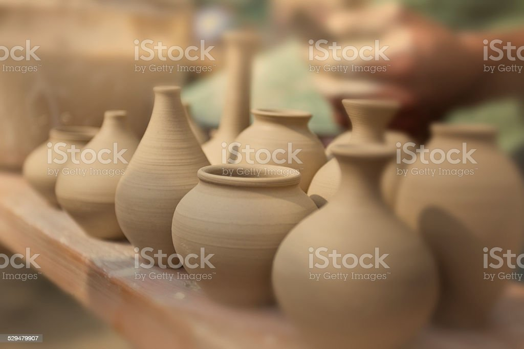 Pottery stall stock photo