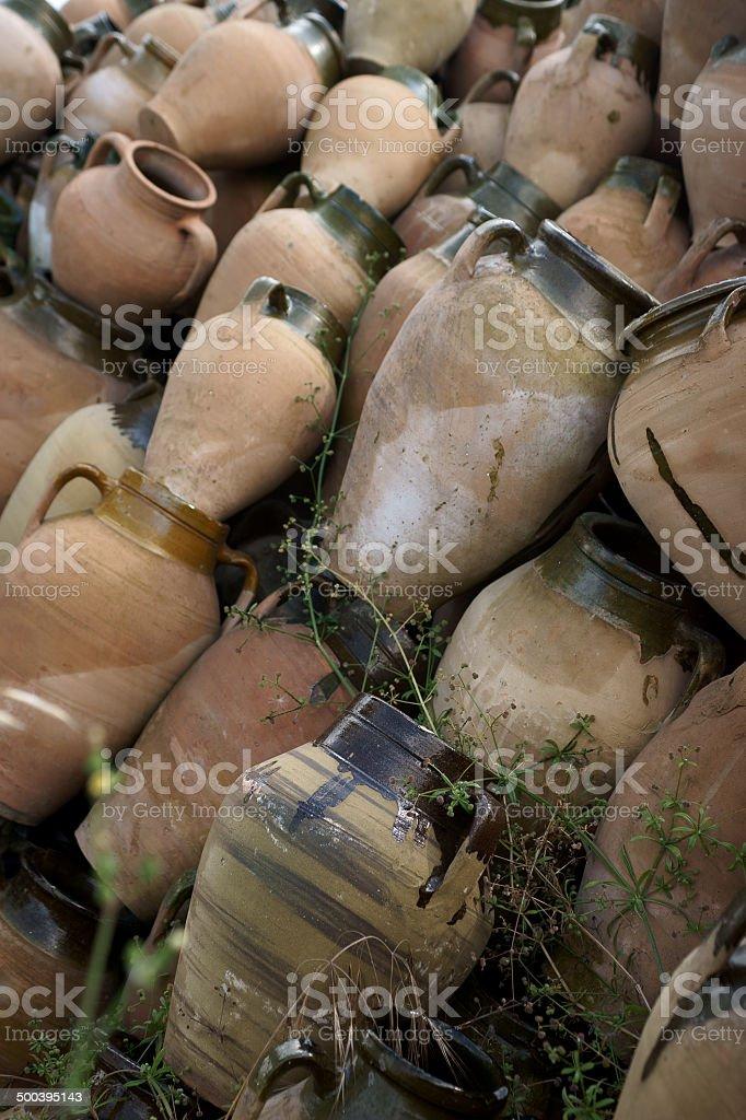 pottery storage stock photo