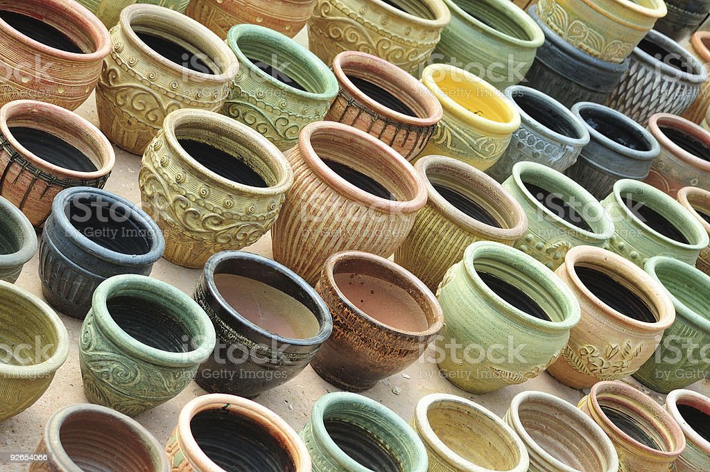 Pottery stuff. In rows. royalty-free stock photo