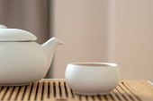 pottery teapot and tea cups