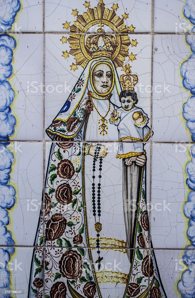 pottery, tiles, Virgin Mary with baby Jesus stock photo