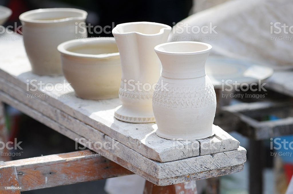 Pottery with Unfired green ware - ungebrannte Tonware stock photo