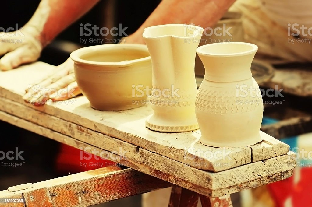 Pottery with Unfired green ware - ungebrannte Tonware royalty-free stock photo