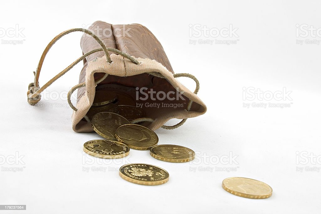 Pouch with gold coins royalty-free stock photo